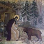 Пр. Сергий делится хлебом с медведем.